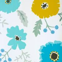 Wind Poppies Fabric - Cadmium/Teal