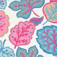 Jewel Leaves Fabric - Raspberry/Blue