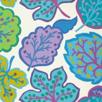 Jewel Leaves Fabric - Fig/Teal