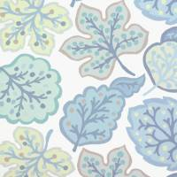 Jewel Leaves Fabric - Mineral/Dove