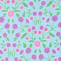 Candytuft Fabric - Powder Blue/Berry