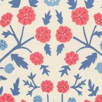 Candytuft Fabric - Marine/Crimson