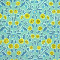 Candytuft Fabric - Teal/Cadmium
