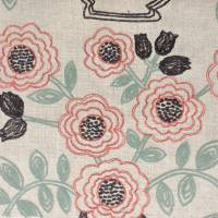 Flower Pot Fabric - Coral/Celadon