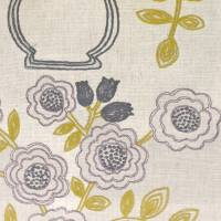 Flower Pot Fabric - Fig/Olive