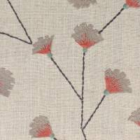 Gingko Trail Fabric - Coral/Celadon