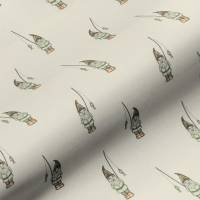 Garden Gnome Fabric - Natural