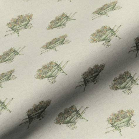 Art of the Loom English Country Garden Fabrics Wheelbarrow Fabric - Linen - WHEELBARROWLINEN