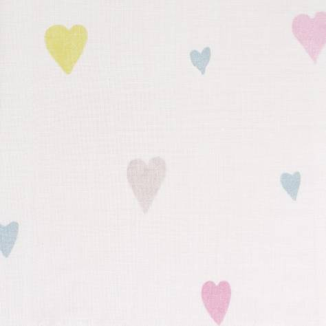 Casadeco Alice & Paul Fabrics & Wallpapers Voile Coeur Fabric - Rose/Gris/Jaune - 28242014