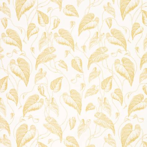 Casadeco Rendez-Vous Fabrics & Wallpapers Feuille de Vigne Satin Fabric - Yellow - 29082222