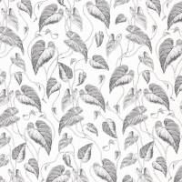 Feuille de Vigne Satin Fabric - Black/White