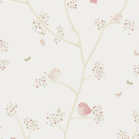 Casadeco My Little World Fabrics & Wallpapers Oiseaux Fabric - Rose - 80024418 - Image 1