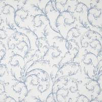 Arabesque Reina Blanc Fabric - Bleu Porcelaine