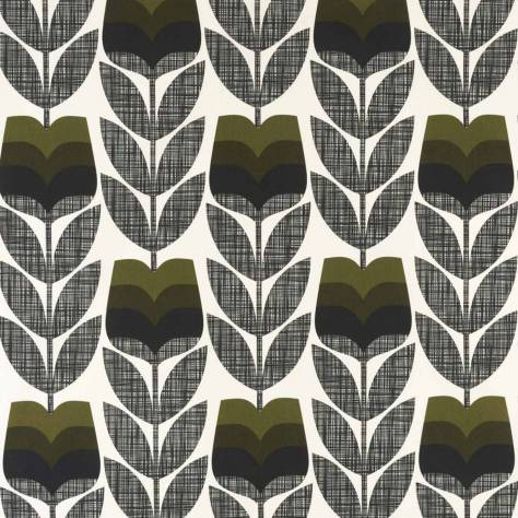 Ashley Wilde Orla Kiely Prints Vol I Fabrics Rose Bud Fabric - Moss - ROSEBUDMOSS