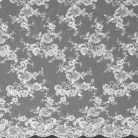 Embroidered Tulle Fabric - Light Ivory/Silver