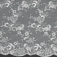 Embroidered Tulle Fabric - Light Ivory/Black