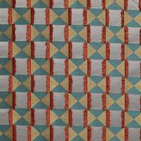 Charleston Fabric - Teal / Orange