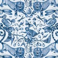 Emma J Shipley Extinct Fabric - Blue