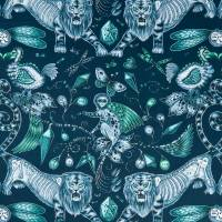 Emma J Shipley Extinct Fabric - Navy
