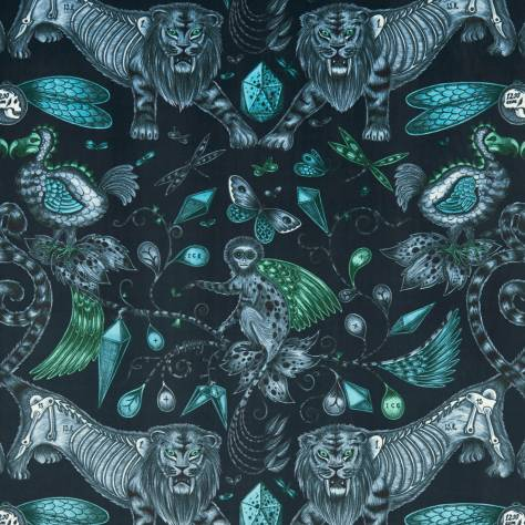 Clarke & Clarke Emma J Shipley for Clarke and Clarke Animalia Fabrics Emma J Shipley Extinct Fabric - Navy Velvet - F1208/01