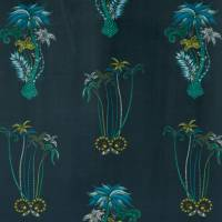 Emma J Shipley Jungle Palms Fabric - Navy Velvet