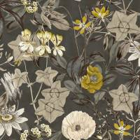 Passiflora Fabric - Charcoal