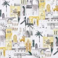 Marrakech Fabric - Charcoal / Ochre