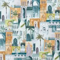 Marrakech Fabric - Teal / Spice