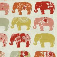 Elephants Fabric - Spice