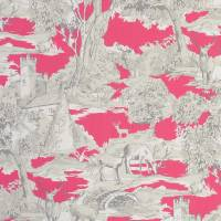 Manor Toile Fabric - Raspberry