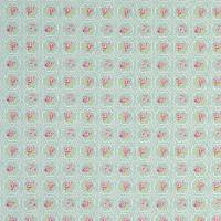 Rose Tile Fabric - Aqua