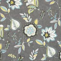 Octavia Fabric - Charcoal/Chartreuse