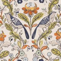 Orchard Birds Fabric - Denim/Spice