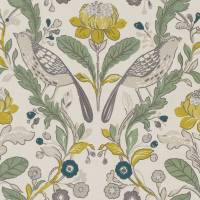 Orchard Birds Fabric - Forest/Chartreuse