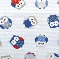 Owls Fabric - Red/Blue