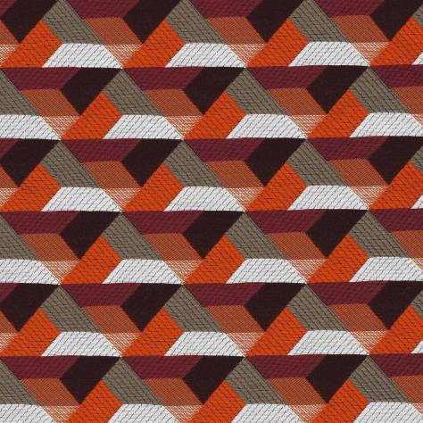 Casamance  Parisian Night Fabrics Ragtime Fabric - Orange Brulee / Bordeaux - 43930306 - Image 1
