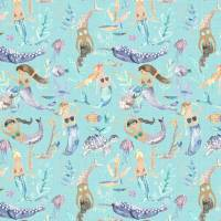 Mermaid Party Fabric - Aqua