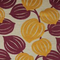 Leaves Fabric - Plum/Mustard