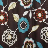 Arabella Fabric - Choc/Aqua