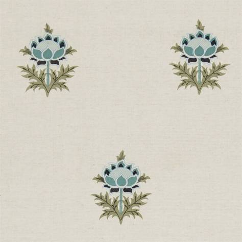 OUTLET SALES Morris / Sanderson Exclusive Clearance! Tulip Embroidery Fabric - Stone/Indigo - DMOETU301C