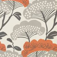 Tree Tops Fabric - Charcoal/Coral