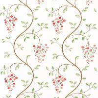 Asami Embroidery Fabric - Coral/Green