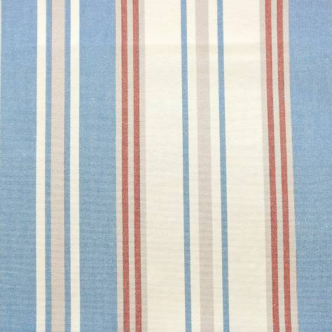 Jane Churchill Linhope Fabrics Hopwell Stripe Fabric - Blue/Red - J872F-01