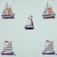 Sailing Applique Fabric - Red/Blue