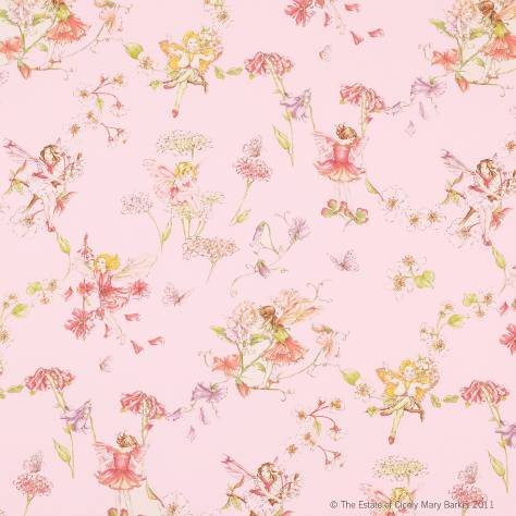 Blossom flower fairies fabric pink j438f 04 jane for Floral nursery fabric