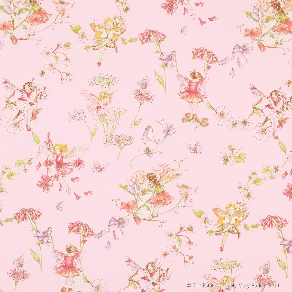 Blossom flower fairies fabric pink j438f 04 jane for Nursery fabric uk
