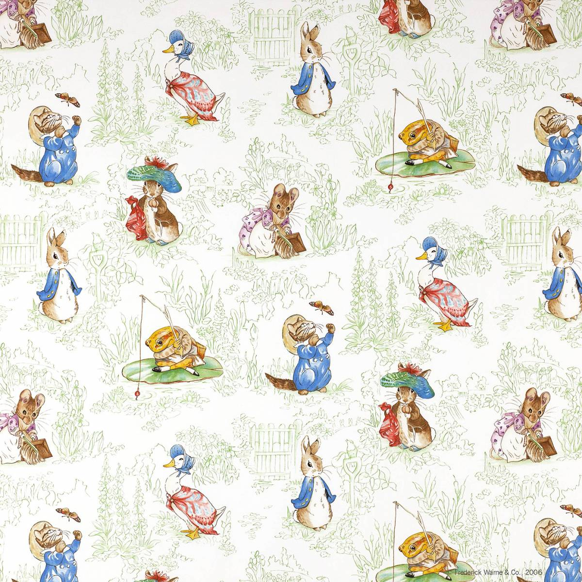 The tales of beatrix potter fabric green j439f 01 for Nursery fabric