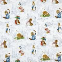 The Tales of Beatrix Potter Fabric - Blue