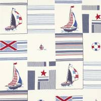 Sailing Patchwork Fabric - Red/Blue