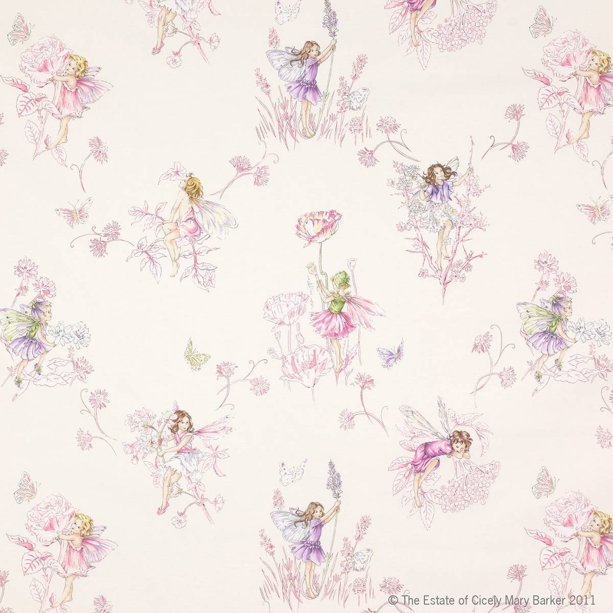 Meadow Flower Fairies Fabric Cream J647f 01 Jane